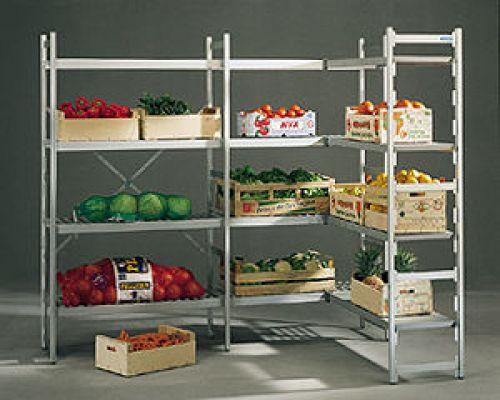 aluminium regal norm 20 mit rost auflagen gastroideen inventar und zubeh r f r gro k chen. Black Bedroom Furniture Sets. Home Design Ideas
