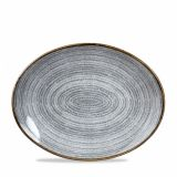CHURCHILL Homespun Oval Coupe bis Plate 31,7 x 25,5 Stone Grey
